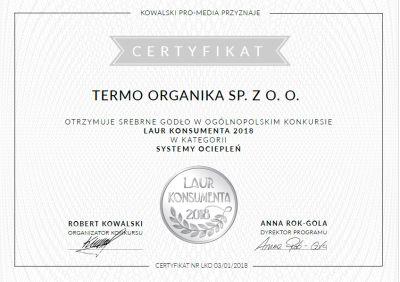 Termo Organika - Laur Konsumenta - nagroda systemy ociepleń