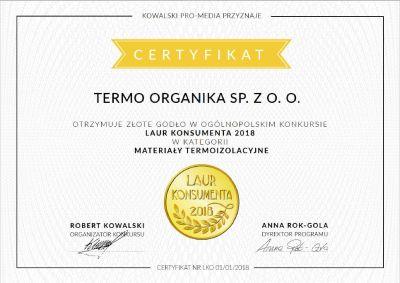 Termo Organika - Laur Konsumenta - nagroda materiały izolacyjne